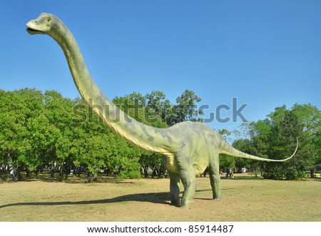 BELGRADE, SERBIA-SEPTEMBER 30:  Diplodocus, replicas of a  dinosaurs in natural size reconstructed according to the latest scientific discoveries at museum on September 30, 2011 in Belgrade, Serbia. - stock photo