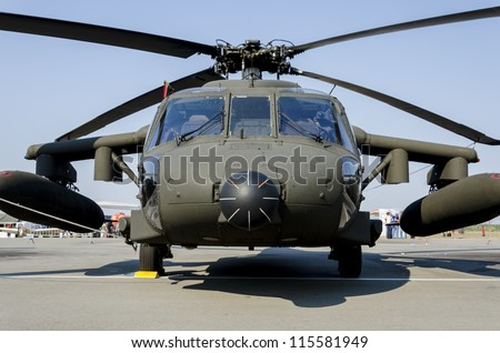 BELGRADE, SERBIA - SEPTEMBER 2: Sikorsky S-70a Black Hawk military helicopter on the Airshow Batajnica 2012 in Belgrade, Serbia on September 2, 2012. - stock photo