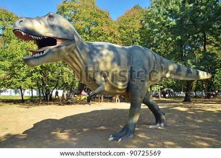 BELGRADE, SERBIA-SEPTEMBER 30: Tyrannosaurus Rex, dinosaurs replicas in life-size on display at Museum of Contemporary Art on September 30, 2011 in Belgrade, Serbia.
