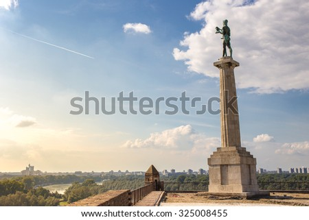 Belgrade Serbia Victor Monument on Kalemegdan Fortress - stock photo