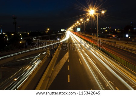 Belgrade traffic in long exposure - stock photo