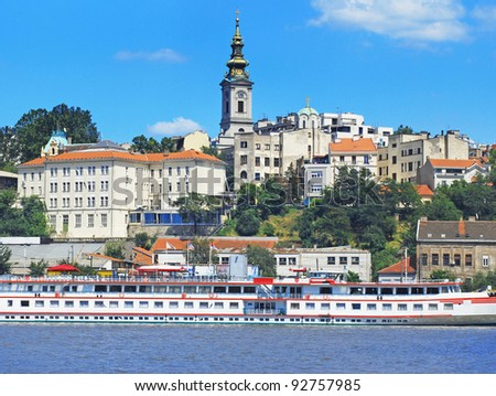 Belgrade, view from river - stock photo