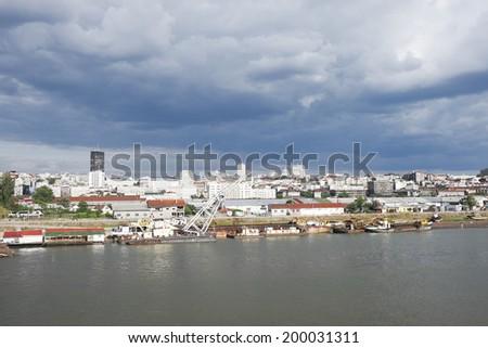 Belgrade, view from river Sava , bridge, Serbia - stock photo
