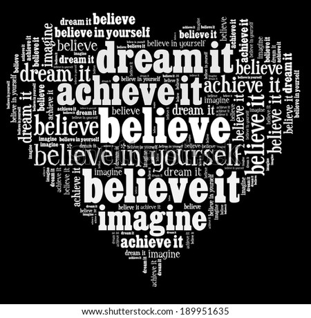 Believe in word collage - stock photo