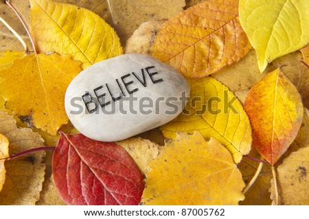 Believe message rock with colorful fall leaves - stock photo