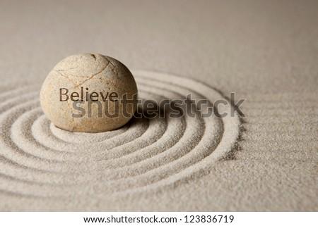 Believe stone - stock photo