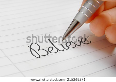 Believe word handwriting