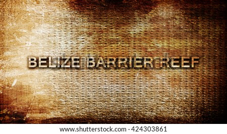 Belize barrier reef, 3D rendering, text on a metal background