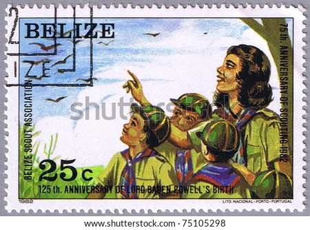 BELIZE - CIRCA 1982: A stamp printed Belize shows scouts watching birds, series, circa 1982 - stock photo
