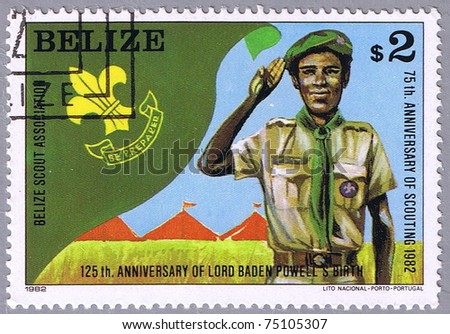 BELIZE - CIRCA 1982: A stamp printed Belize shows the scout who gives salute, series, circa 1982 - stock photo