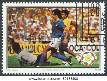 BELIZE-CIRCA 1982: A stamp printed in the Belize, is dedicated to FIFA World Cup 1982 in Spain, shows a match between Italy - Brazil, circa 1982 - stock photo