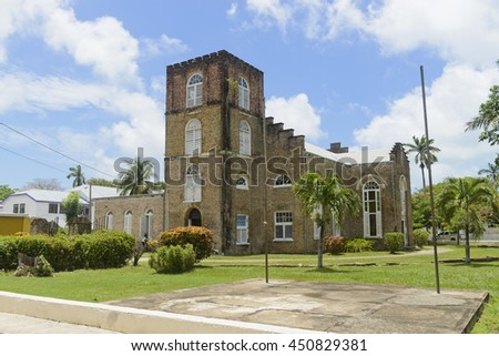 Belize City, Belize - June  24, 2016: View of St John's Anglican Cathedral in Belize City. - stock photo