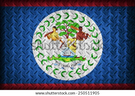 Belize flag pattern on the diamond metal plate texture ,vintage style - stock photo