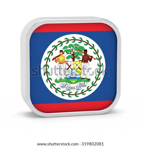Belize flag sign on a white background. Part of a series. - stock photo
