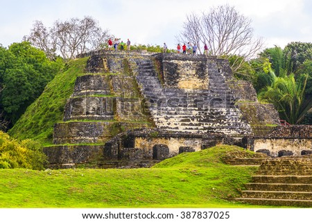 BELIZE - JAN 26 2016: Altun Ha Mayan Ruins in Belize was once the capital of the former British Honduras - stock photo