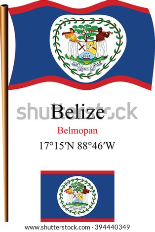 belize wavy flag and coordinates against white background, art illustration, image contains transparency