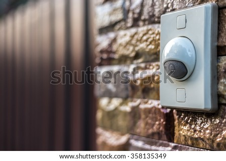 bell at the front door - stock photo