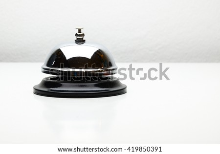 bell counter service in black and white