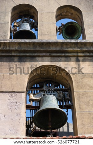 Bell gable with three bells on a church in Donostia San Sebastian, the Basque Country in Spain