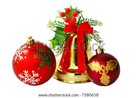 Bell ,globes and red ribbon  Christmas decorations, isolated on white - stock photo