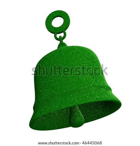 bell in green grass (3D) - stock photo