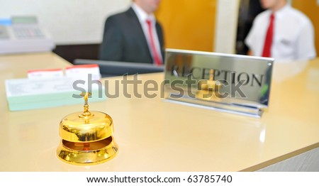 bell on hotel reception - stock photo