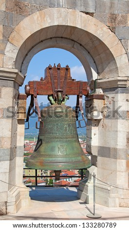 Bell on the leaning tower of Pisa, Italy - stock photo