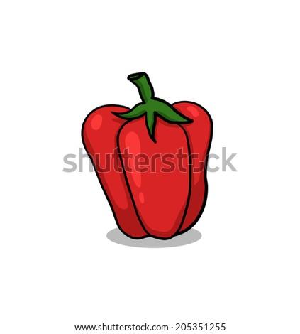 Bell Pepper Illustration; Red Bell Pepper  - stock photo
