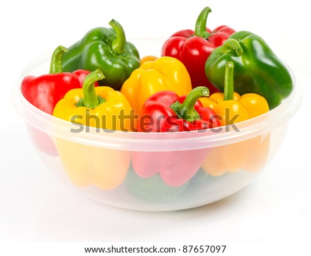 Bell pepper mix on white background