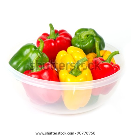 bell pepper mix on white background. red, green, yellow