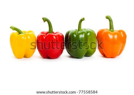 Bell Pepper with white background - stock photo