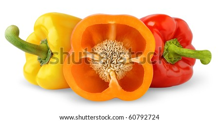 Bell peppers isolated on white - stock photo