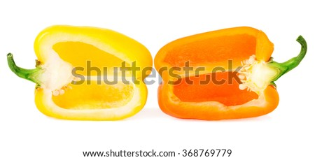 bell peppers with half isolated on white. - stock photo