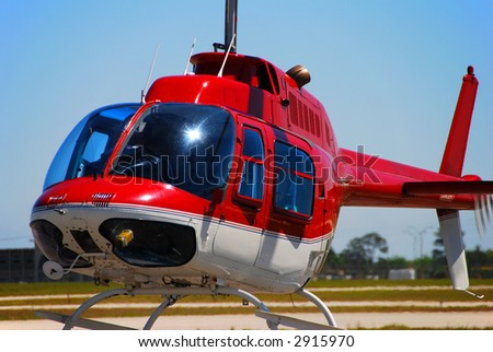 Bell 207 sightseeing helicopter closeup - stock photo