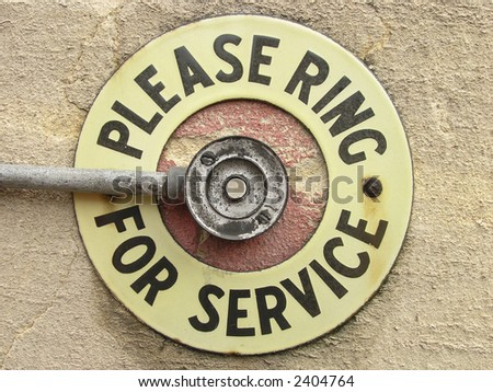 Bell to ring with invitation to do so. Great for inviting your customers to communicate with you! - stock photo