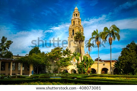 Bell tower at Balboa Park at sunrise.  San Diego, California USA. - stock photo