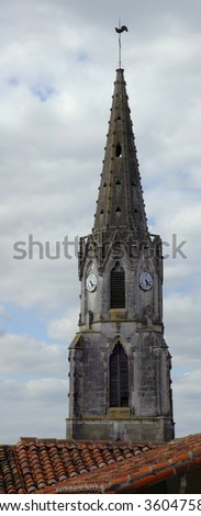 Bell tower, church of Confolens, Charente, France.