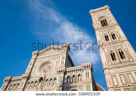 Bell Tower for the Basilica di Santa Maria del Fiore and Giotto's Campanile - Florence, Italy