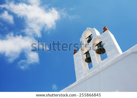 Bell tower from famous church in Santorini. Greece. - stock photo