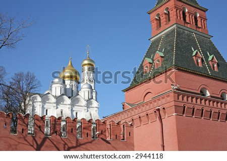 Bell tower of Ivan the Great and Kremlin wall - stock photo