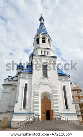 Bell tower of Pokrovsky Cathedral in Gatchina, Russia.