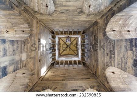 Bell Tower of the Basilica di Santa Maria del Fiore, inside view. Tuscany, Italy. - stock photo