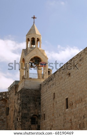 Bell tower of the Church of the Nativity in Bethlehem, Palestine. - stock photo