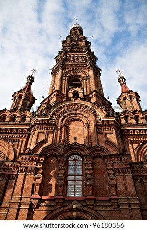Bell tower of the Epiphany church in Kazan, respublic of Tatarstan, Russia