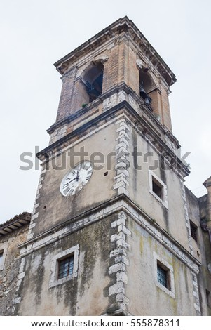 Bell tower with clock in Toffia.