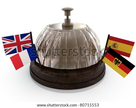 bell with flag on white background - stock photo