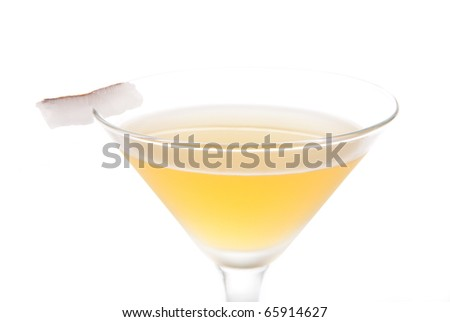 Bella Donna Martini cocktail with dark rum, amaretto, lemon liquor and coconut slice isolated on a white background - stock photo
