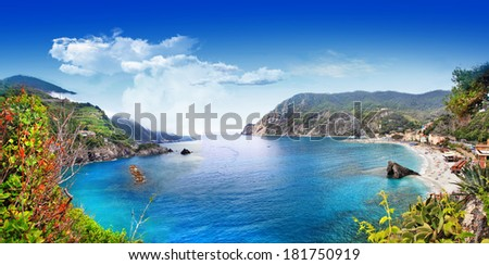 bella Italia series - panorama of Monterosso al mare, Cinque terre - stock photo