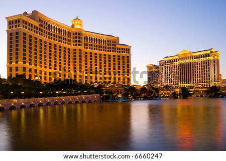 Bellagio Hotel and Caesars Palace in Las Vegas at night - stock photo
