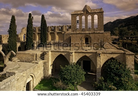 Bellapais Abbey in Kyrenya, Northern Cyprus - stock photo